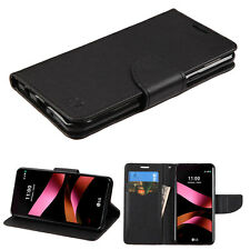LG TRIBUTE HD X STYLE LS676 FULL BLACK FLIP JACKET WALLET POUCH CASE COVER