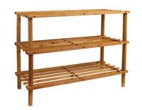 Scarpiera in legno 3 ripiani impilabile 9 paia di scarpe scaffale 64x49x27cm