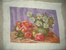 "VINTAGE COMPLETED NEEDLEPOINT VERY FINE GOBELIN GOBLIN FLOWERS FRUIT 12""X8.25"""