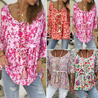 Womens Floral Print Loose T Shirt Long Sleeve Casual Blouse Tunic Tops Plus Size