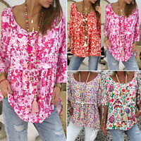 Women Short Sleeve Loose T Shirts Floral Boho Casual Blouse Tops Shirt Plus Size