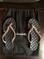 CHANEL Gray Quilted Chain CC  Suede Thong Sandals size 36 $675
