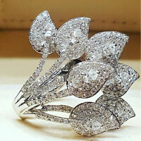 Luxury Women 925 Silver Wedding Rings Jewelry White Sapphire Ring Size 6-10
