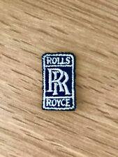 Rolls Royce RR Logo Sew-On Badge - Navy Blue & White - 30mm x 17mm