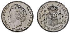 1 SILVER PESETA/PLATA. ALFONSO XIII. MADRID 1893*. XF+/EBC+. SCARCE - ESCASA.