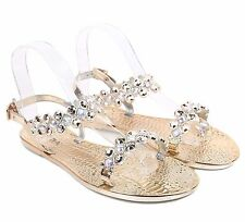 Gold Open Toe Blink Slingbacks Ankle Strap Rhinestones Womens Sandals Size 8
