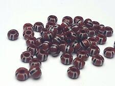 50g böhmische Rocailles Seed beads braun gestreift 4,7 mm 5/0