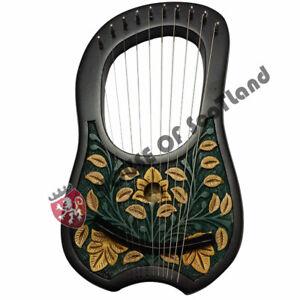Irish Lyre Harp 10 Metal Strings Shesham wood Carrying Case Key/Lyra Harfe/Arpa