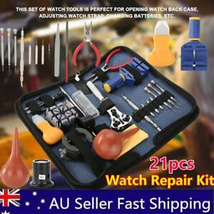 21PCS Watch Repair Kit Professional Watch Battery Replacement Watch Tools Kit AU