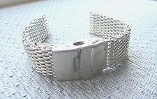 22mm Acciaio Inox Orologio Mesh Shark Cinturino BRACCIALE BAND fibbia di sicurezza NUOVO SENZA ETICHETTA