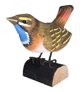 Handgeschnitzter heimischer Vogel stehend, Blaukehlchen aus Holz 10x9x5 cm, Deko
