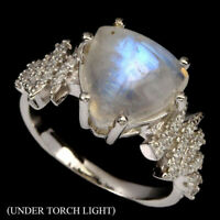Sterling Silver Women's 3.5 CT Genuine Trilliant Fire Moonstone Ladies Ring Sz 6