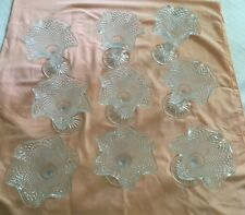 Clear Glass EAPG w/Stem Ruffle Diamond Hobnail Ice Cream Sorbet Sherbet Dishes
