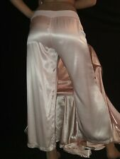 Vtg Real Satin Tagged Shiny Fair Pink Joggers Trousers Lounge Day Pants Usa M-42