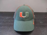 Nike Miami Hurricanes Hat Cap Green Orange Strap Back UM Football Canes Mens