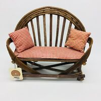 Boyds Bears Brooke's Willow Wood Settee With Seat Cushion & Pillows Original Tag