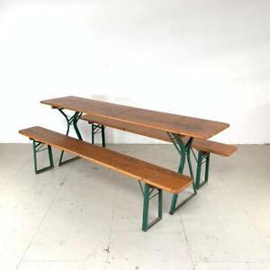 VINTAGE INDUSTRIAL GERMAN BEER TABLE BENCH SET GARDEN FURNITURE ORANGE A FRAME