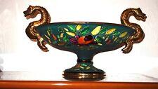 Wunderschöne Antik H. Bequet Quaregnon Belgium Prunk Keramik Schlangenschale