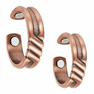Set of Two - Twisted Copper Magnetic Rings Unisex Arthritis Carpal Tunnel