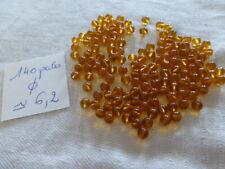 vente au poids 250 gr de perle vintage en verre   ronde lisse verte vert