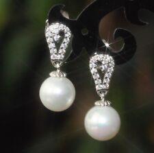 Fresh Water Pearl & Created Brilliant Diamond Dangle Earrings