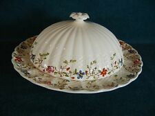 "Copeland Spode Wicker Dale Round 9 1/2"" Covered Muffin Dish with Lid"