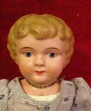 "Antique 11"" Minerva Germany China Doll - Metal Shoulder Head"
