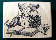 Reading Owl by Natalia rubber stamp WM P27 -Larger