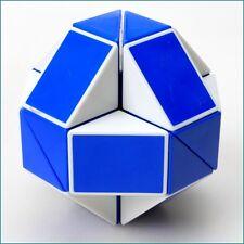 HMQC Puzzle Twist Puzzle Toy Magic Snake Shape Toy Game 3D CUBE  Blue White