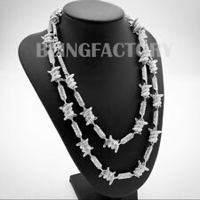 Hip Hop Urban Fashion Silver plated Iced Barbed Wire 18