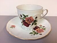 Bareuther Waldsassen Tea Cup and Saucer Red & Yellow Roses Decoration Gold Trim