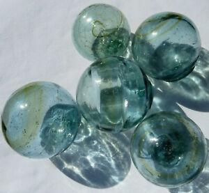 """Japanese Glass Fishing Floats 3-3.5"""" Lot of 5 Aqua/Green w/Amber Swirls & Bands"""