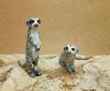 Meerkat Figurine Couple Ceramic Porcelain Collectible Handmade Meerkats Statue