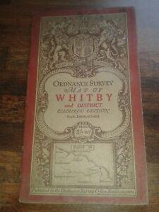 RARE VGC 1907 ORDNANCE SURVEY MAP WHITBY SALTBURN COLOURED EDITION SHEET 16