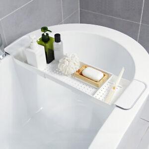 Adjustable White Plastic Bathtub Caddy Shower Rack Bathtub Tray Organizer Holder