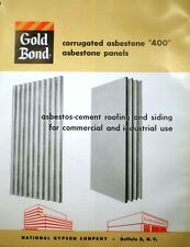 National Gypsum GOLD BOND ASBESTOS CEMENT Asbestone Roofing Siding 1959