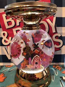 Bath & Body Works FARMHOUSE 🍁 FALL WATER GLOBE 3 Wick PEDESTAL Candle Holder