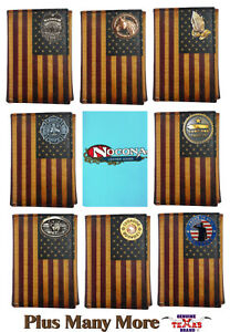 Distressed Leather U.S. Flag Nocona Tri-fold Wallet - Customizable