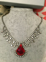 DANNIJO RED STEVIE Crystal  Statement Necklace NEW