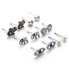 6pair/Set Vintage Evil eye Fatima Elephant Earring Silver Earrings Ear Studs
