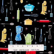 Fabric Traditions - Retro Kitchen Utensil & Appliance Black - Cotton YARD