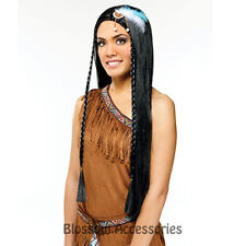 W238 Ladies Indian Maiden Black Long Haired Adult Fancy Dress Costume Wig