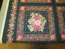 """1730.  GREEN FLORAL COTTON PILLOW Squares Fabric - 15 1/2"""" Sq. Ea. - Have 7"""