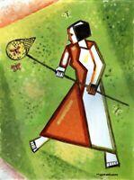Chudinovskikh Russischer Expressionist Öl Papier Mädchen und Schmett. 59x44 cm