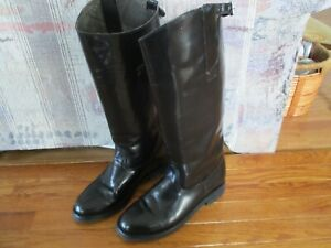 Tall Black Leather Motorcycle Police Patrol Riding Boots Mens 10 E?