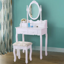 White Vanity Wood Jewelry Makeup Dressing Table Stool Set  w/ 4 Drawers Bedroom