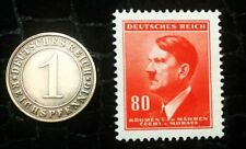 Authentic German WW2 Red Stamp & Antique German Coin - Historical Artifact