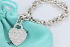 """Tiffany & Co. Sterling Silver Fifth Ave. Notes Heart Charm 7.5"""" Bracelet w/Pouch"""