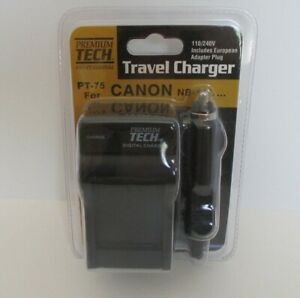 Travel Charger Premium Tech PT-75 for Canon NB-11L w/ Euro Adapter 110/240V NIP