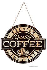 "12"" Brown & Beige Embossed Vintage Metal Quality Coffee Bistro Cafe Sign Plaque"